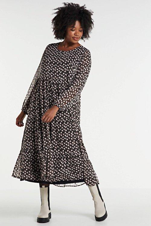 zhenzi-semi-transparante-jurk-elly-met-paisleyprint-en-volant-zwart-multi-zwart-5705113666352