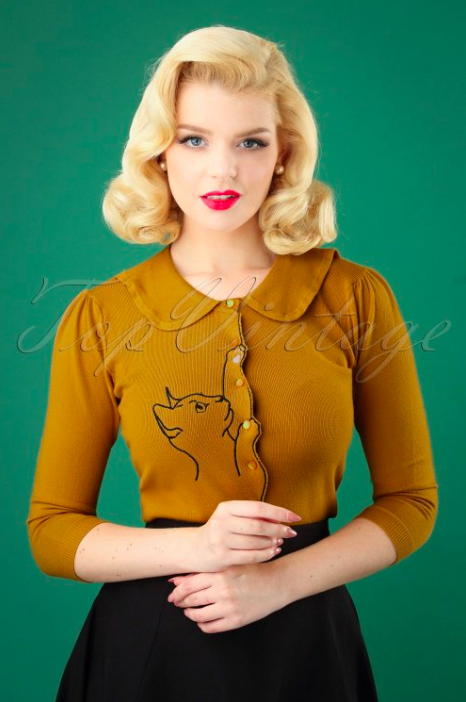 Banned-Retro-60s-Cat-Scallop-Collar-Cardigan-in-Mustard