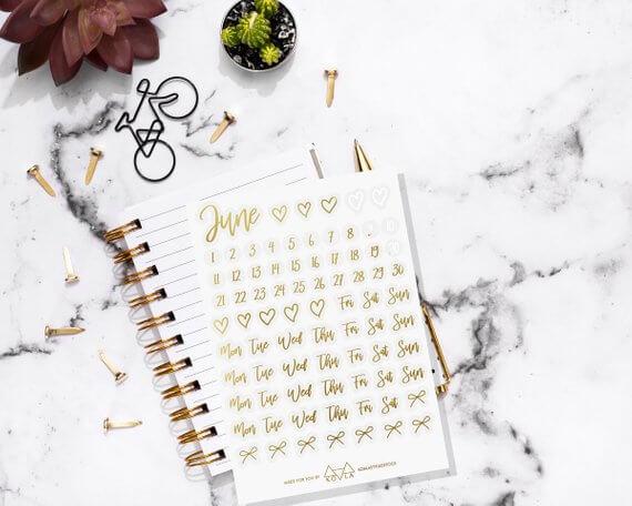 bullet journal stickers dagen goud