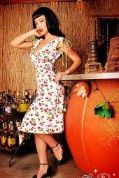 pin up kleding jurkje bloemenprint kersen Pinup couture rockabilly 1 2
