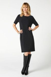steps-gebreide-jurk-met-korte-mouw-en-stippen-zwart-wit-zwart-8718303550284