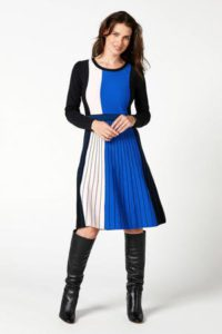 steps-gestreepte-plissejurk-blauw-zwart-ecru-blauw-8718303550703