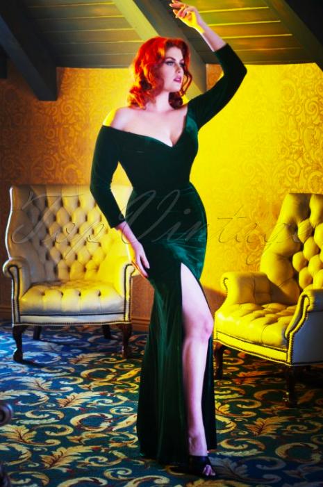 velours maxi jurk met split