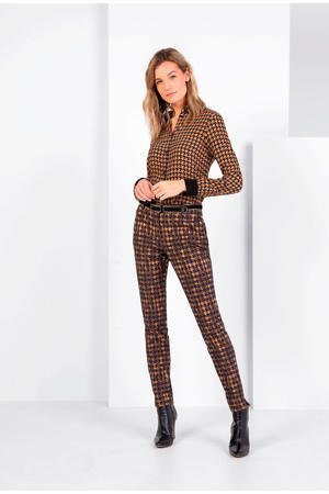 expresso-blouse-met-pied-de-poule-bruin-zwart-bruin-8720019057247