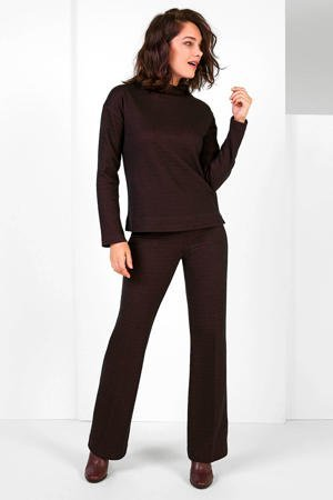 expresso-flared-broek-met-jacquard-zwart-roze-zwart-8720019049112