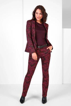 expresso-flared-pantalon-met-bladprint-bordeaux-roze-rood-8720019049044