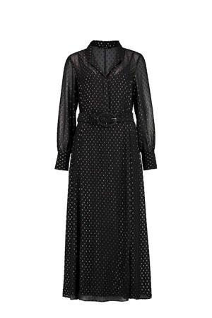 expresso-semi-transparante-maxi-jurk-met-all-over-print-en-ceintuur-zwart-goud-zwart-8720019051405