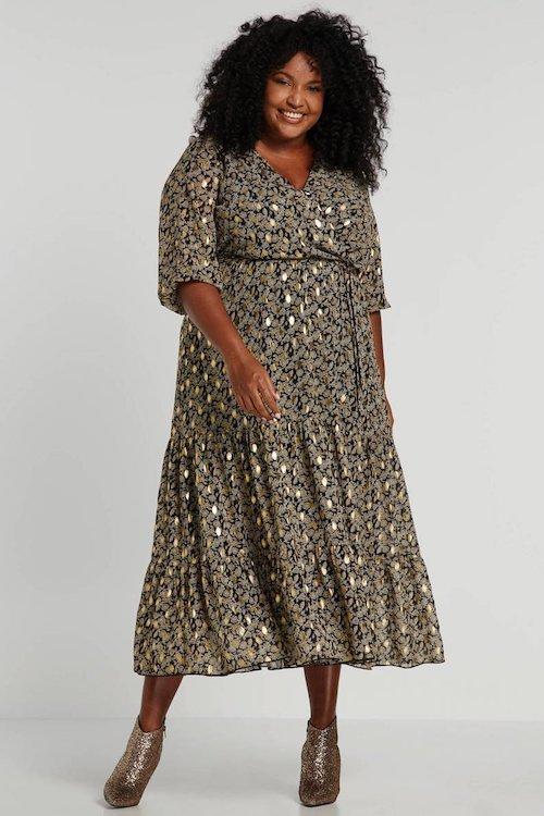 paprika-jurk-met-all-over-print-zwart-goud-zwart